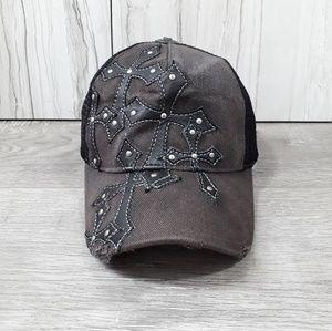 Affliction》distressed frayed design cap
